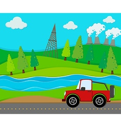 Red jeep riding on road vector