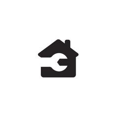 repair logo concept black house silhouette vector image