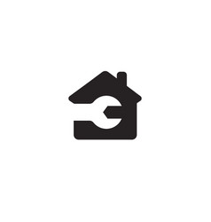 repair logo concept black house silhouette with vector image
