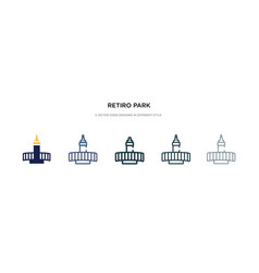 Retiro park icon in different style two colored vector