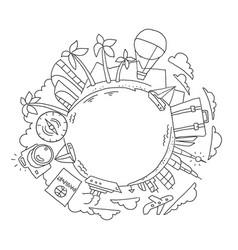 Round travelers kit tourism holidays vector