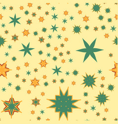 Seamless texture yellow stylized flowers and stars vector
