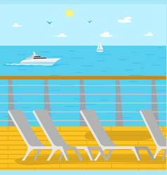 seascape ship and aquatic view chaise longues vector image