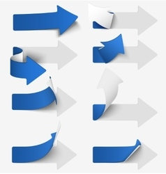 set blue paper arrow stickers vector image