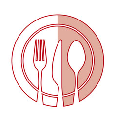 Set cutlery with dish tools icon vector