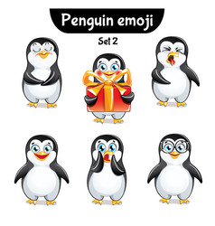 Set of cute penguin characters set 2 vector