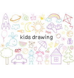 Set of isolated kids drawing vector