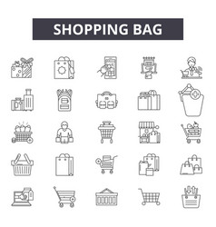 shopping bag line icons signs set linear vector image
