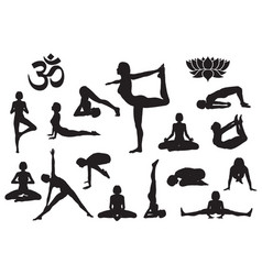 silhouettes girl in yoga poses vector image