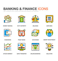 Simple set banking line icons for website vector