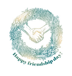 Sketch of handshake friendship day design vector