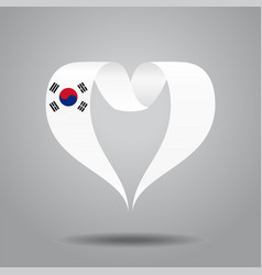 south korean flag heart-shaped ribbon vector image