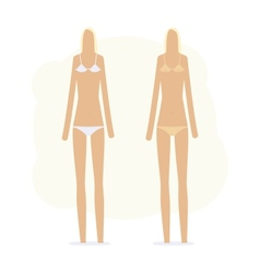 sunburnt girl in bikini and without vector image