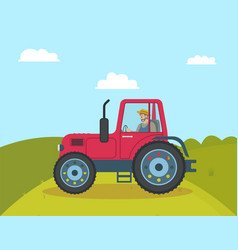 Tractor agricultural vehicle vector