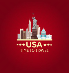 travel to usa new york poster skyline time to vector image
