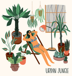urban jungle with trendy home vector image