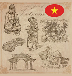 Vietnam pictures of life pack hand drawings vector