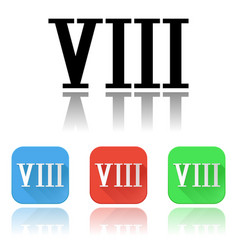 Viii roman numeral icons colored set vector