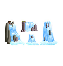 Waterfall cascades in mountains for paradise vector