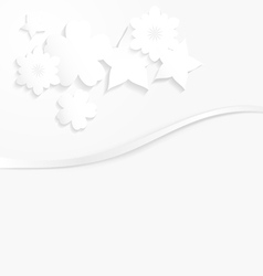 White paper with white flowers and a wave vector image