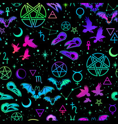 Witchcraft seamless pattern with different magic vector