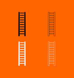 wooden step ladder black and white set icon vector image