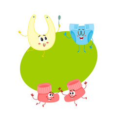 Funny baby booties diaper bib characters infant vector