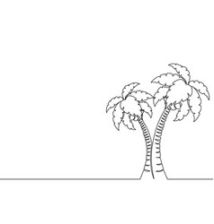 single continuous line art palm tree line drawing vector image