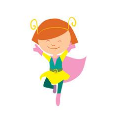 Smiling girl in superhero costume vector