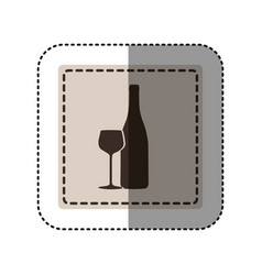 sticker monochrome square with bottle and glass of vector image