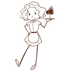 A sketch of a lady server vector image