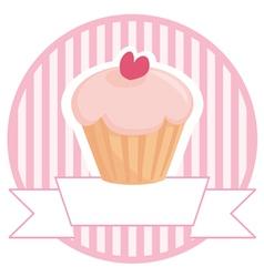 Cupcake button logo or wedding invitation card vector image