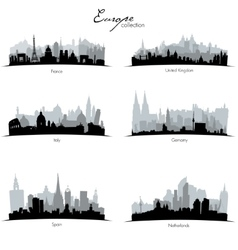 european countries silhouettes vector image