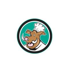 Wild Pig Boar Chef Cook Head Circle Cartoon vector image
