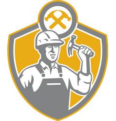 Builder Carpenter Hammer Shield Retro vector image vector image