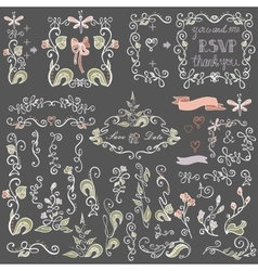 Colored Doodles floral decor setBorderselements vector image