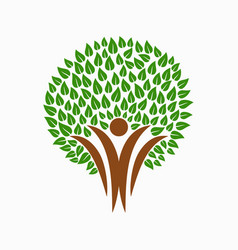 green tree people symbol for community team help vector image vector image