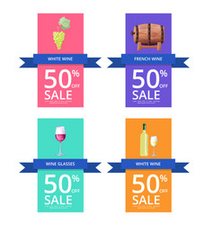 white wine and -50 sale on vector image