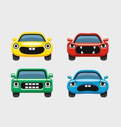 car emoticon car face smiles icons set vector image