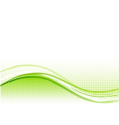 green wave background with lines vector image vector image
