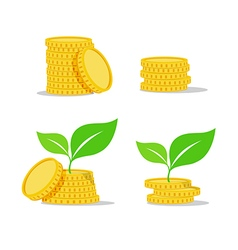 Growing investment coin money and green leaf flat vector image vector image
