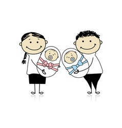 Happy parents with newborn twins vector image vector image