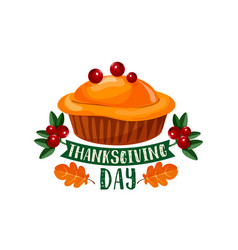 thanksgiving day pumpkin dinner pie symbol design vector image