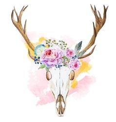Watercolor deer head with wildflowers vector image vector image
