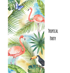 watercolor vertical banner tropical leaves vector image