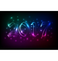 2017 neon banner or poster with blured lights vector