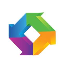3d arrows logo vector image