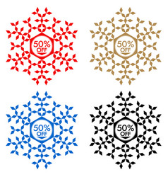 50 off discount sticker snowflake 50 off sale vector image