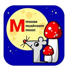 ABC moon mouse mushroom vector image