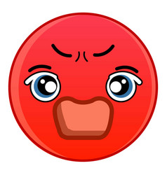Angry red emoticon icon cartoon style vector
